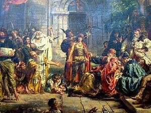 Ontvangst van de Joden in Polen in het jaar 1096. geschilderd door Jan Matejko
