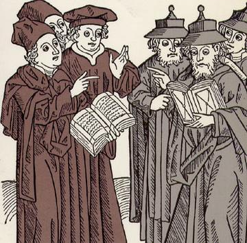 Christenen en Joden, Duitsland 15e eeuw. De Joden (rechts) dragen de voor Joden verplichte Jodenhoed
